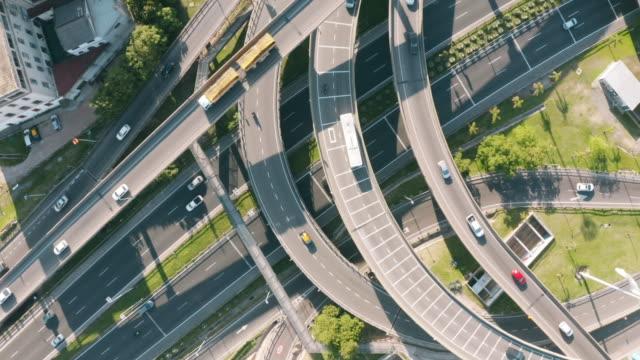 overhead view of highway interchange - avenida 9 de julio stock videos & royalty-free footage