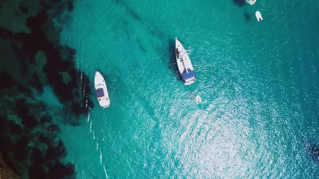 overhead view of luxury yachts in the mediterranean sea - minorca stock videos & royalty-free footage