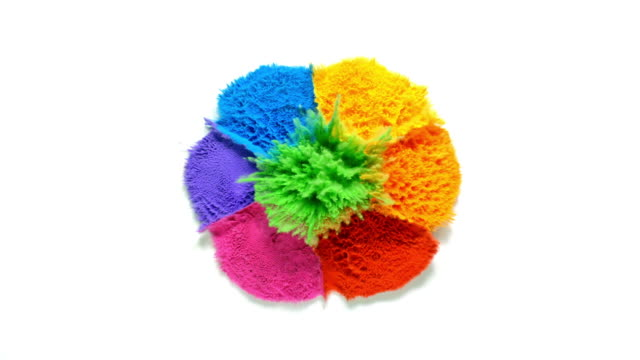 overhead view of radial shaped powder dots in 7 rainbow colors exploding towards camera, in close up and slow motion, white background - fantasy stock videos & royalty-free footage