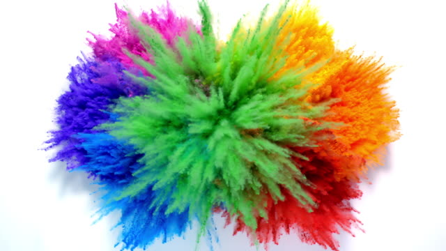 overhead view of radial shaped powder dots in 7 rainbow colors exploding towards camera, in close up and slow motion, white background - bombenanschlag stock-videos und b-roll-filmmaterial