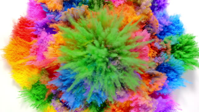 stockvideo's en b-roll-footage met overhead view of radial shaped powder dots in many colors exploding towards camera, in close up and slow motion, white background - multi coloured