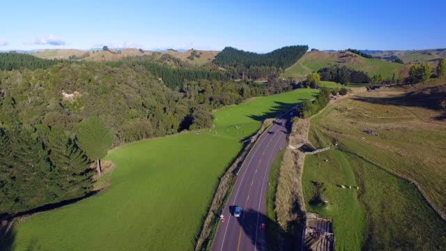 Overhead View Of Road Passing Through Farmland.