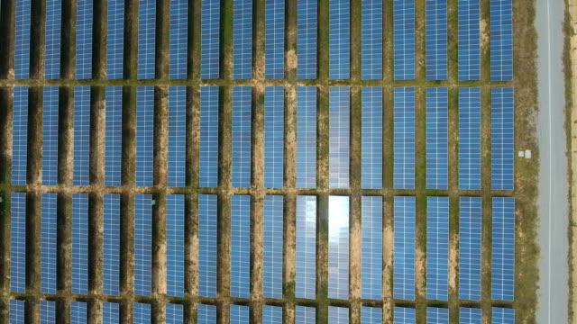 Draufsicht auf Zeilen Solarpanel Kraftwerk bietet saubere erneuerbare Energie, Aerial Video