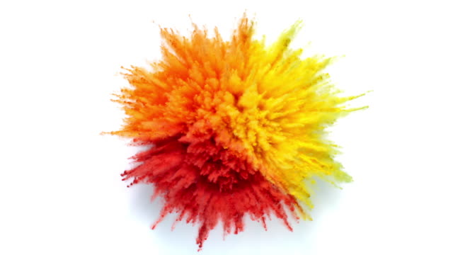 overhead view of single radial shaped powder in three colors exploding towards camera, in close up and slow motion, white background - bombing stock videos & royalty-free footage