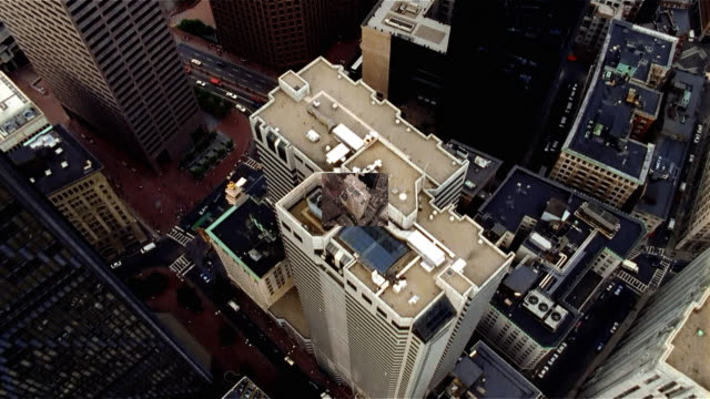 overhead view of skyscrapers. boston, massachusetts. - mpeg video format stock videos & royalty-free footage