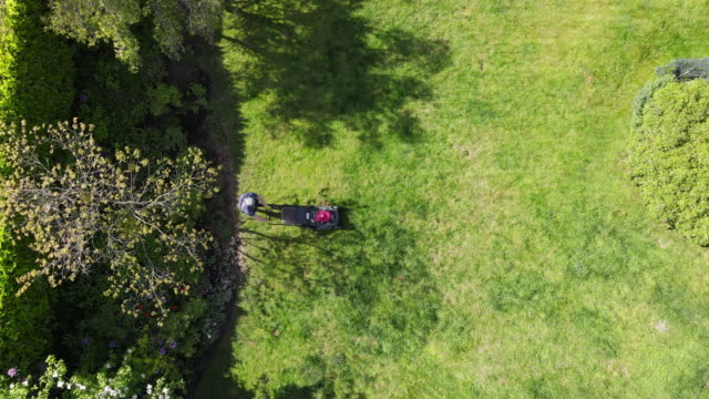 zi overhead view of teenage boy mowing grass in backyard on summer afternoon - one teenage boy only stock videos & royalty-free footage