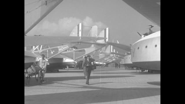 overhead view of three rows of seaplanes sitting on tarmac / ground view of three men walking on tarmac between two rows of seaplanes / three ground... - chicago world's fair stock videos and b-roll footage