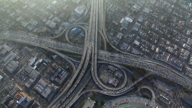 Overhead view of traffic on Los Angeles interchange.
