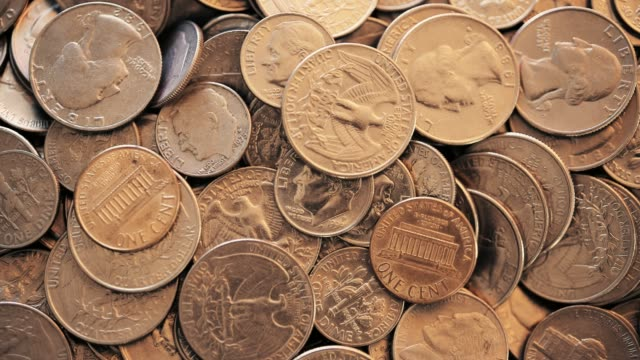 overhead view of u.s. coins - five cent coin stock videos & royalty-free footage