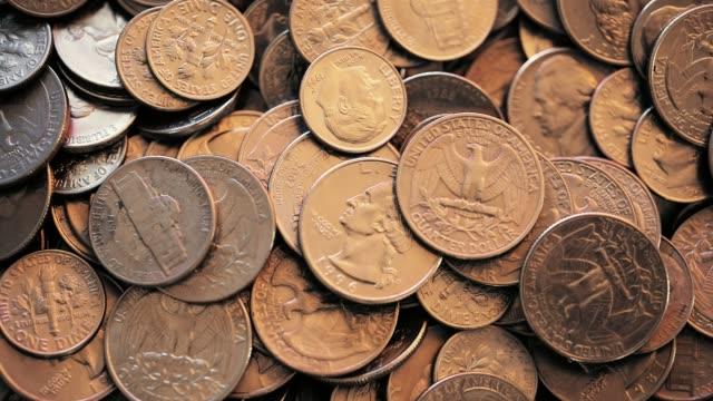 översiktsbild av amerikanska mynt - amerikanska mynt bildbanksvideor och videomaterial från bakom kulisserna