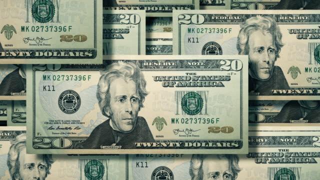 vidéos et rushes de vue aérienne du mur des billets en cascade de $20$ dollar, devise américaine - avidité