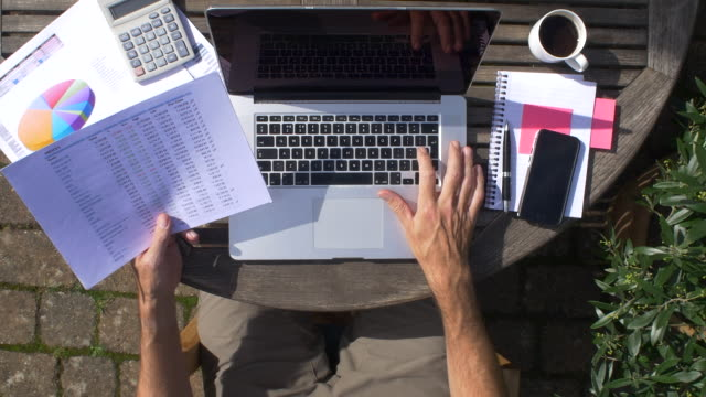 """overhead view of """"working from home"""" scenario, outside on a garden patio - desk stock videos & royalty-free footage"""