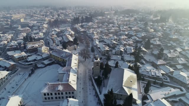 overhead winter view of bansko town, bulgaria, europe - bulgaria stock videos & royalty-free footage