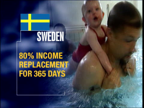 overlaid: sweden parental leave policy compared with britain - employment issues stock videos & royalty-free footage