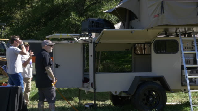 overland expo an annual education and trade show event to help those adventurers outfitted and get going it is held twice in the united states the... - camper trailer stock videos and b-roll footage