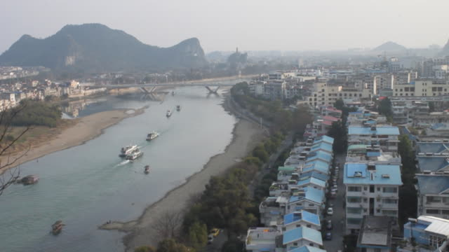 overlook from elephant trunk hill in guilin, guangxi,china,tripod - li river stock videos & royalty-free footage