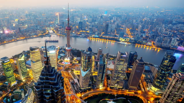 Overlooking Shanghai China, Time Lapse.