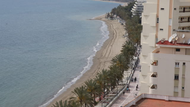 Overlooking the beach of Marbella in Andalusia in Spain looking out of a hotel
