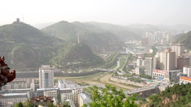 overlooking the city in the valley,yanan - non urban scene stock videos & royalty-free footage