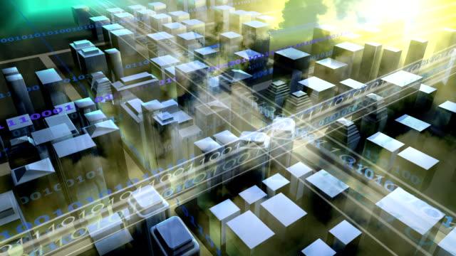 Overlooking the digital city.3D Rendering.