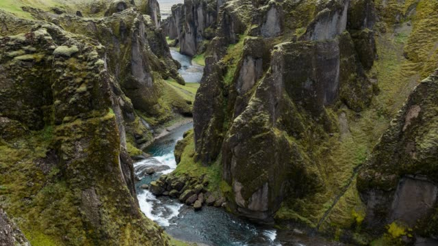 overlooking the fjadrargljufur canyon in iceland - canyon stock videos & royalty-free footage