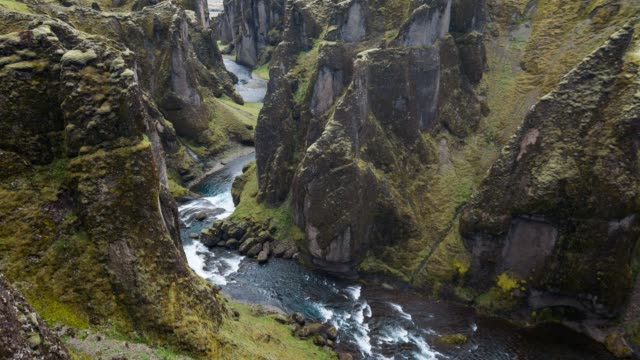overlooking the fjadrargljufur canyon in iceland - mgost stock videos and b-roll footage
