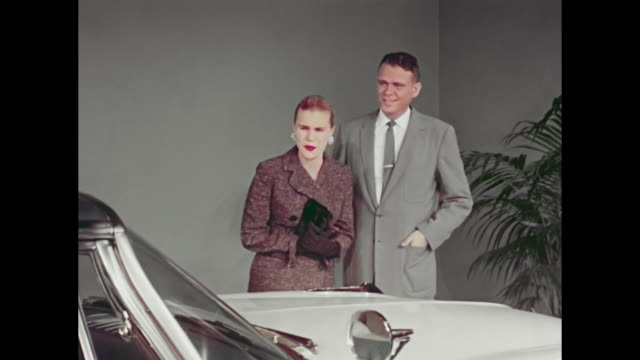 overly enthusiastic couple in 1959 desoto commercial - 1950 1959 stock videos & royalty-free footage