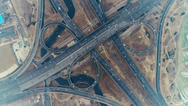 overpass aerial view - motorway stock videos & royalty-free footage