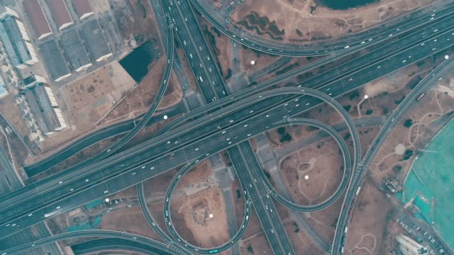 overpass aerial view - chasing stock videos and b-roll footage