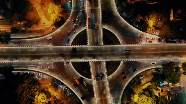 overpass at night, guangzhou, guangdong province, china - guangzhou stock videos & royalty-free footage