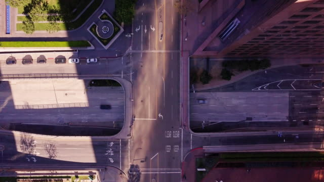 Overpass in Downtown Los Angeles - Aerial Shot