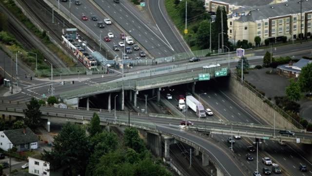 aerial overpass in portland, oregon - portland oregon house stock videos & royalty-free footage