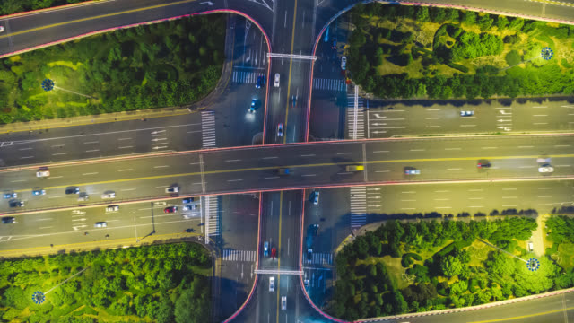 tl overpass traffic aerial view - liyao xie stock videos & royalty-free footage
