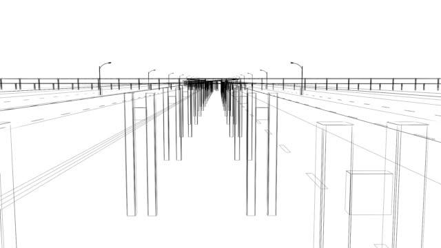 vídeos de stock e filmes b-roll de 3 d de nó de junção de auto-estrada - ponte