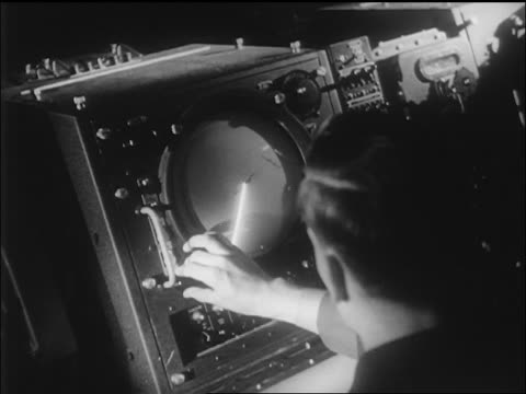 over-the-shoulder man looking at radar screen timing yeager's bell x-1 airplane flight / ca / newsreel - radar stock videos & royalty-free footage