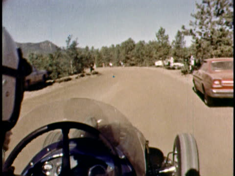 POV overtheshoulder view of Bobby Unser racing car on Pike's Peak/ Colorado