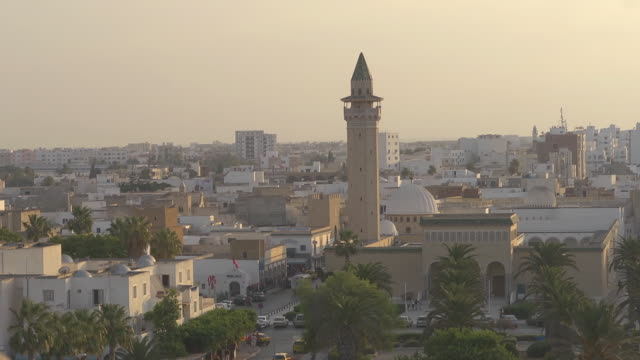 overview monastir  - tower of bourgiba mosque - tunisia video stock e b–roll