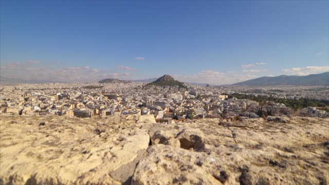 overview of athens, greece city skyline from above. - lycabettus hill stock videos & royalty-free footage