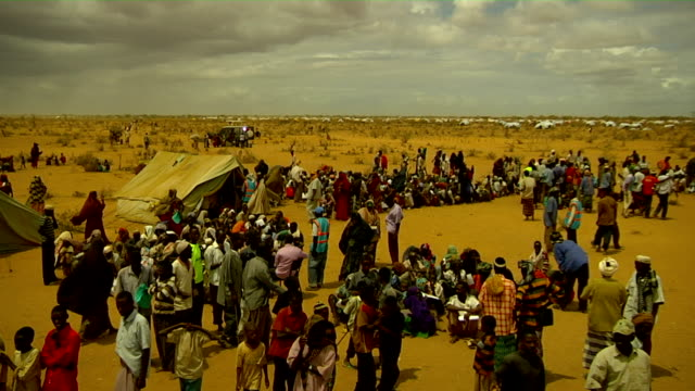 Overview of people at refugee camp on July 30 2011 in Dadaab Kenya