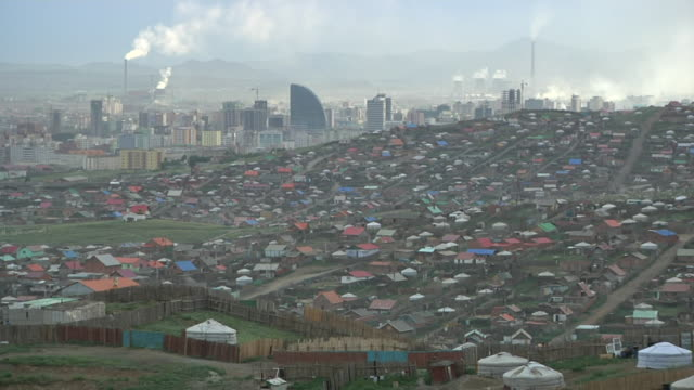 Overview of the suburbs of Ulan Baatar with downtown area and power plants on the background