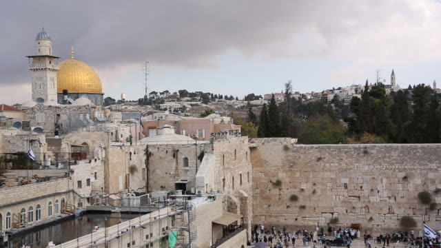 Overview of Western (Wailing) Wall and Dome of the Rock