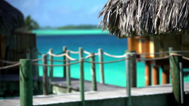 overwater bungalow boardwalk in aquamarine lagoon bora bora - polynesian ethnicity stock videos & royalty-free footage