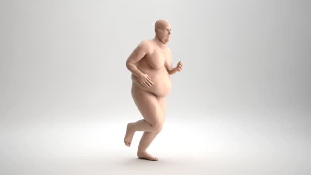 overweight man running | loopable - anatomy stock videos & royalty-free footage