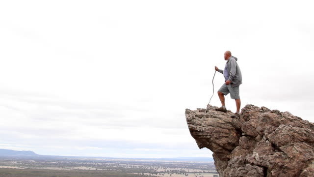 overweight senior enjoying the view over the grampians national park - at the edge of stock videos & royalty-free footage