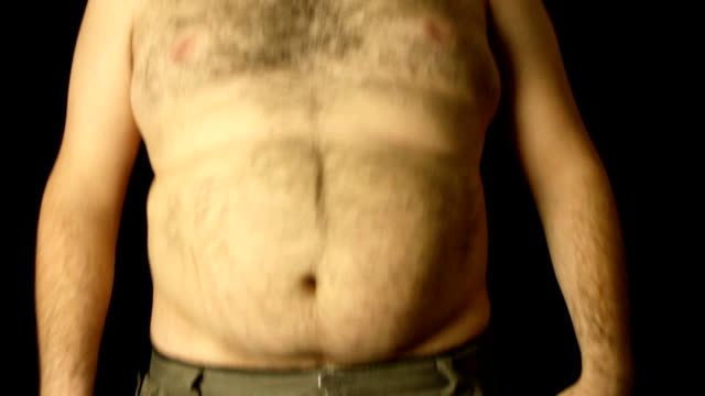 overweight shirtless man jumping - stomach stock videos and b-roll footage