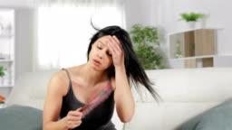 Overwhelmed woman suffering heat stroke