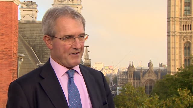 mp owen paterson saying the government need to just get on with brexit in response to theresa may saying there is a chance that the uk will delay its... - オーウェン・パターソン点の映像素材/bロール