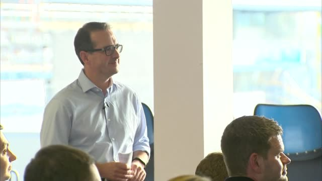 leeds headingley int owen smith at side of stage as young labour supporter talks about being disillusioned with labour leader jeremy corbyn sot /... - owen smith politician stock videos & royalty-free footage