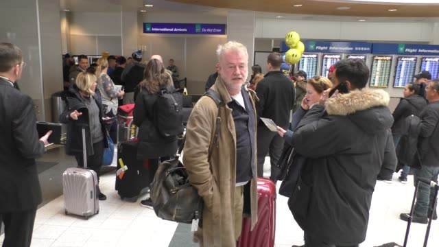 stockvideo's en b-roll-footage met interview owen teale talks about his movie arriving at sundance film festival at salt lake city airport in utah in celebrity sightings in park city... - sundance film festival