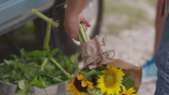 vidéos et rushes de owner of a mobile flower truck cuts the ends off a sunflower bouquet and counts them - bouquet de fleurs